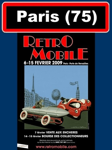 AFFICHE SALON RETROMOBILE PARIS 2009